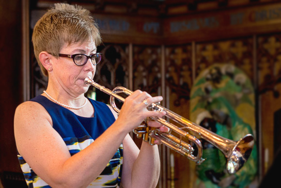 Katie Soukup, trumpet, 2016-07-24 at the Episcopal Church of Saints Andrew and Matthew, Wilmington, Delaware.