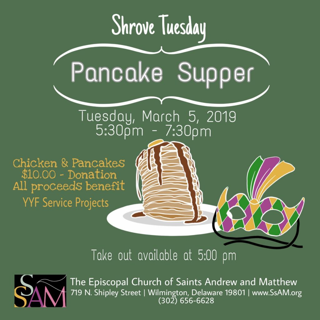 YYF Shrove Tuesday Chicken & Pancakes, March 5, 2019