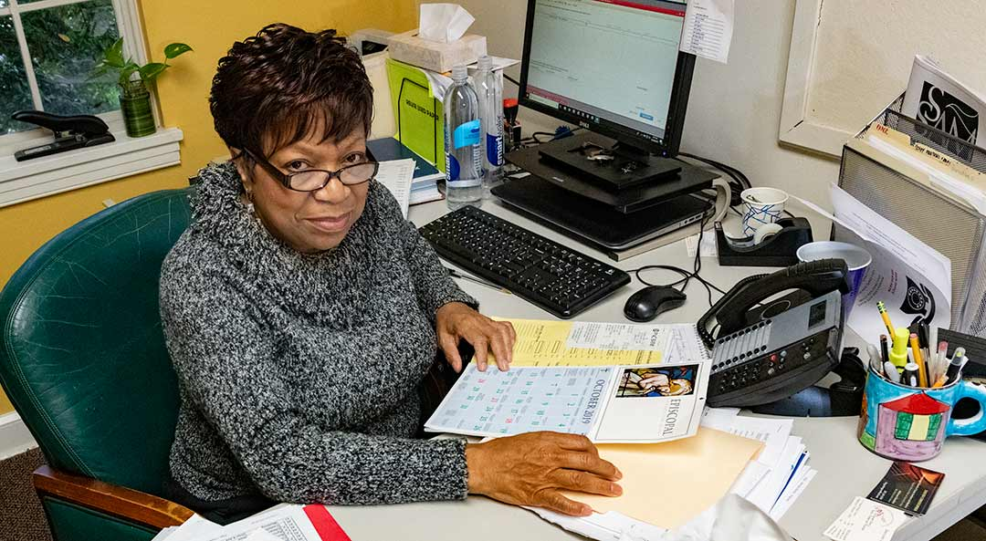 Brenda Demby in her office at the Episcopal Church of Saints Andrew and Matthew, Wilmington, Delaware