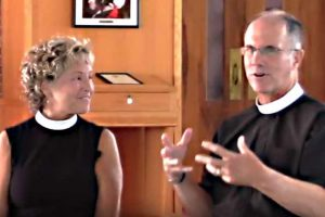 Video frame of Deacon Paula Waite and Father David Andrews, Episcopal Church, Delaware