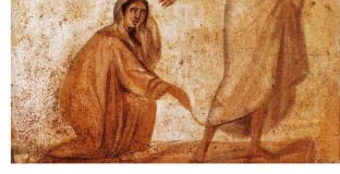 Healing of a Bleeding Woman (detail), Catacombs of Marcellinus and Peter, Rome, Italy.