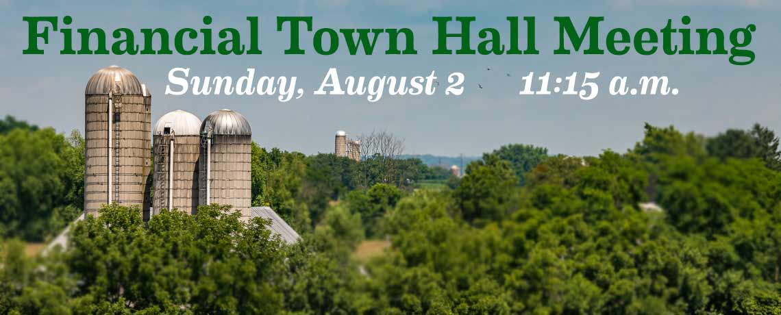 Financial Town Hall Meeting, SsAM, Sunday, August 2, 11:15 a.m.