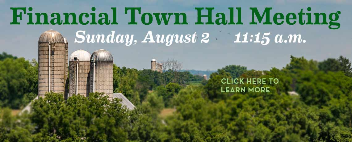 Financial Town Hall Meeting, Sunday, August 2, 11:15 a.m.