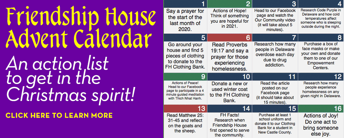 Advent Calendar from Friendship House